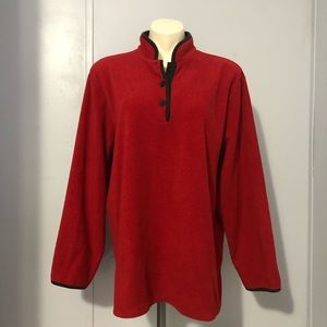 TALBOTS Red Pullover Ribbed Fleece Sweater